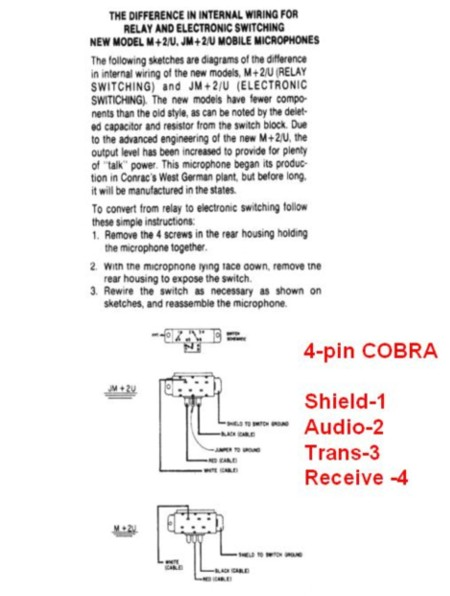 copper talk turner m 2 u wiring for 4 pin cobra uniden rh copperelectronics com 4 Pin Mic Wiring cobra 29 ltd classic mic wiring diagram