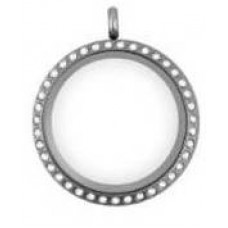25MM Silver Round Floating Charm Necklace