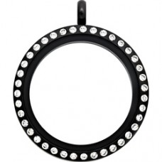 25MM Black Round Locket Necklace