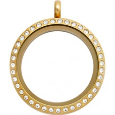 25MM Gold Round Floating Charm Necklace